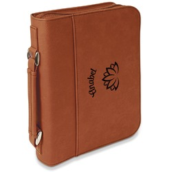 Lotus Flower Leatherette Book / Bible Cover with Handle & Zipper (Personalized)