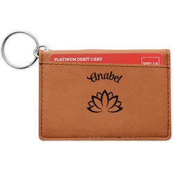 Lotus Flower Leatherette Keychain ID Holder (Personalized)