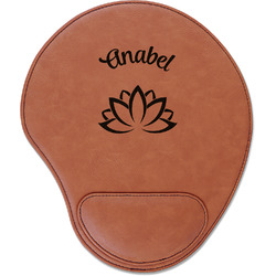 Lotus Flower Leatherette Mouse Pad with Wrist Support (Personalized)