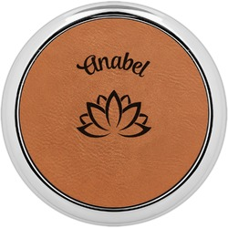 Lotus Flower Leatherette Round Coaster w/ Silver Edge - Single or Set (Personalized)