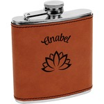 Lotus Flower Leatherette Wrapped Stainless Steel Flask (Personalized)