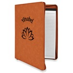 Lotus Flower Leatherette Zipper Portfolio with Notepad (Personalized)