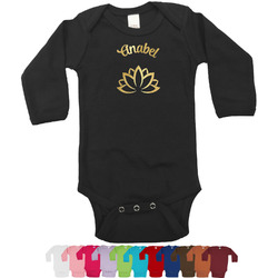 Lotus Flower Foil Bodysuit - Long Sleeves - 6-12 months - Gold, Silver or Rose Gold (Personalized)