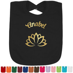 Lotus Flower Foil Baby Bibs (Select Foil Color) (Personalized)