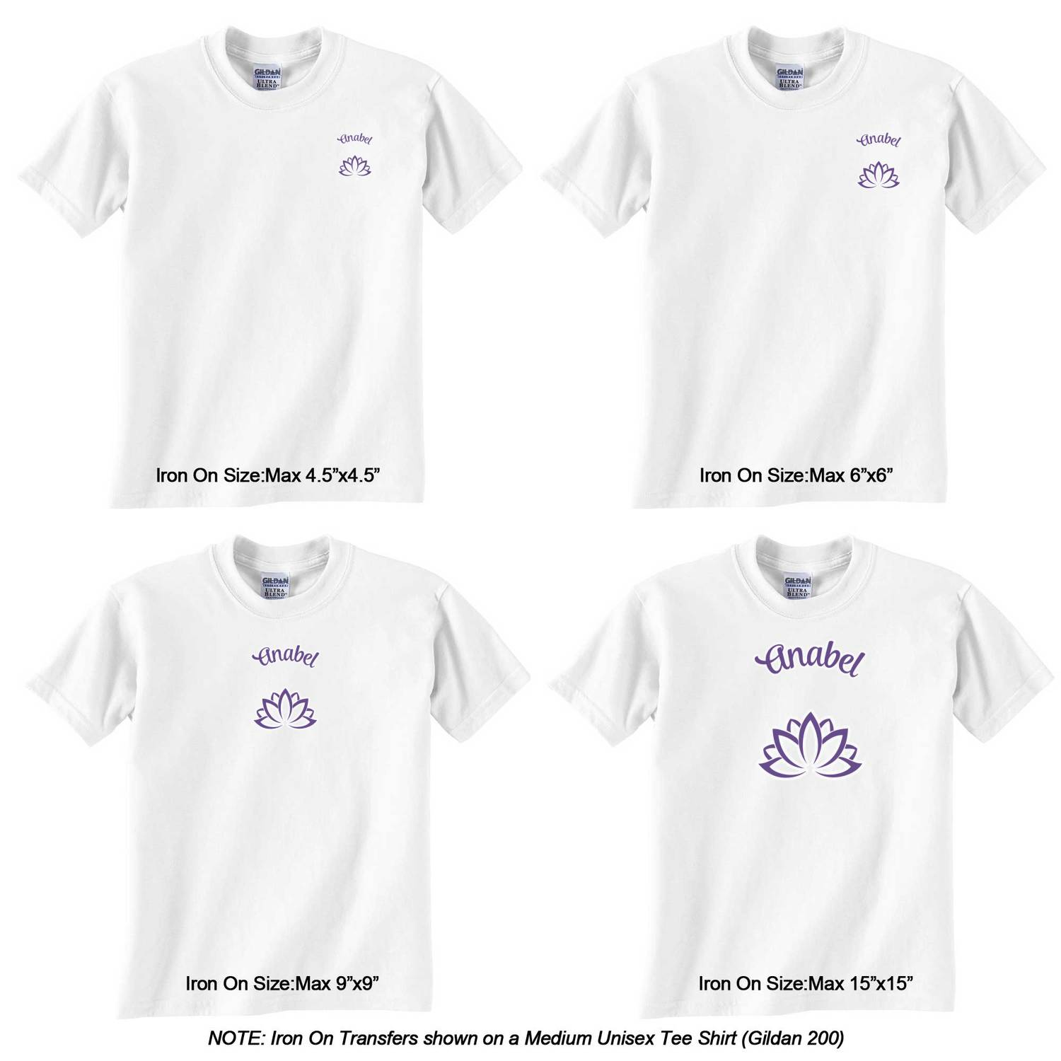 Design your own t-shirt iron on transfer -  Transfer Personalized Lotus Flower Graphic Iron On Transfer Lotus Flower Iron On Transfer Sizes On Tee Shirt