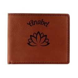 Lotus Flower Leatherette Bifold Wallet - Single Sided (Personalized)