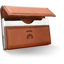 Lotus Flower Leatherette Business Card Holder (Personalized)
