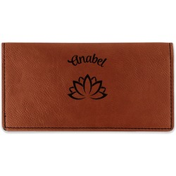 Lotus Flower Leatherette Checkbook Holder (Personalized)