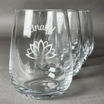 Lotus Flower Stemless Wine Glasses (Set of 4) (Personalized)