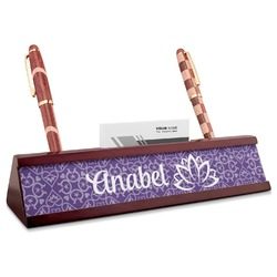 Lotus Flower Red Mahogany Nameplate with Business Card Holder (Personalized)