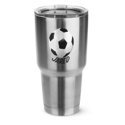 Soccer 30 oz Silver Stainless Steel Tumbler w/Full Color Graphics (Personalized)