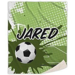 "Soccer Sherpa Throw Blanket - 50""x60"" (Personalized)"