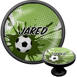 Soccer Cabinet Knob (Black) (Personalized)