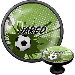 Soccer Cabinet Knob (Black) (Personalized)