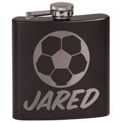 Soccer Black Flask (Personalized)