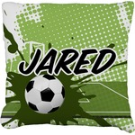 Soccer Faux-Linen Throw Pillow (Personalized)