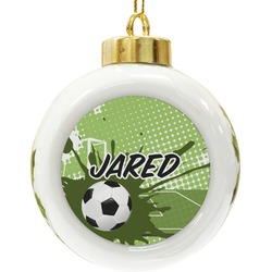 Soccer Ceramic Ball Ornament (Personalized)