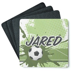 Soccer 4 Square Coasters - Rubber Backed (Personalized)