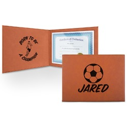 Soccer Leatherette Certificate Holder (Personalized)