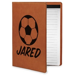 Soccer Leatherette Portfolio with Notepad - Small - Single Sided (Personalized)