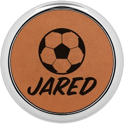 Soccer Leatherette Round Coaster w/ Silver Edge - Single or Set (Personalized)