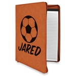 Soccer Leatherette Zipper Portfolio with Notepad (Personalized)