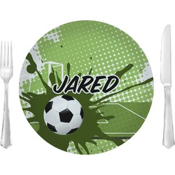 "Soccer Glass Lunch / Dinner Plates 10"" - Single or Set (Personalized)"