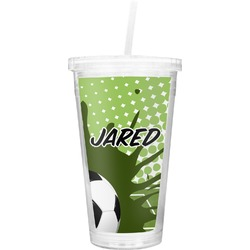 Soccer Double Wall Tumbler with Straw (Personalized)