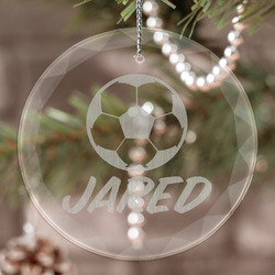 Soccer Engraved Glass Ornament (Personalized)