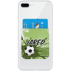Soccer Genuine Leather Adhesive Phone Wallet (Personalized)