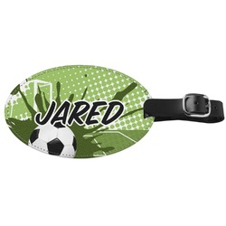 Soccer Genuine Leather Oval Luggage Tag (Personalized)