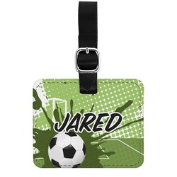 Soccer Genuine Leather Rectangular  Luggage Tag (Personalized)