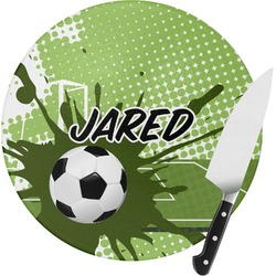 Soccer Round Glass Cutting Board (Personalized)