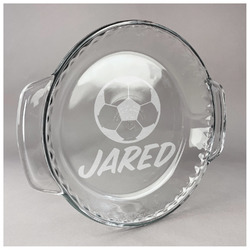 Soccer Glass Pie Dish - 9.5in Round (Personalized)