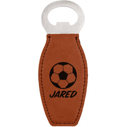 Soccer Leatherette Bottle Opener (Personalized)