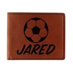Soccer Leatherette Bifold Wallet (Personalized)