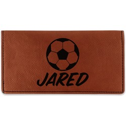 Soccer Leatherette Checkbook Holder (Personalized)