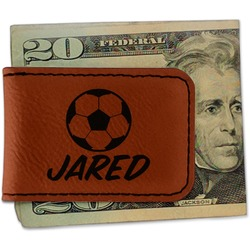 Soccer Leatherette Magnetic Money Clip (Personalized)