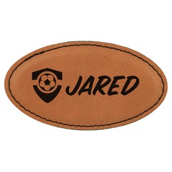 Soccer Leatherette Oval Name Badge with Magnet (Personalized)