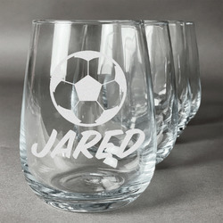 Soccer Wine Glasses (Stemless Set of 4) (Personalized)