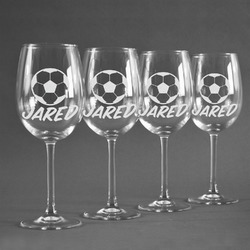 Soccer Wine Glasses (Set of 4) (Personalized)