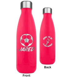 Soccer RTIC Bottle - 17 oz. Pink - Engraved Front & Back (Personalized)
