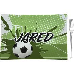Soccer Rectangular Glass Appetizer / Dessert Plate - Single or Set (Personalized)