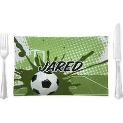 Soccer Glass Rectangular Lunch / Dinner Plate - Single or Set (Personalized)
