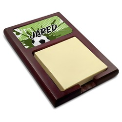 Soccer Red Mahogany Sticky Note Holder (Personalized)