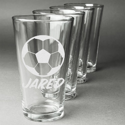 Soccer Beer Glasses (Set of 4) (Personalized)