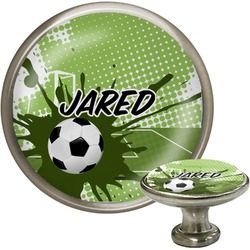 Soccer Cabinet Knob (Silver) (Personalized)