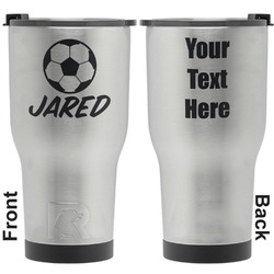 Soccer RTIC Tumbler - Silver - Engraved Front & Back (Personalized)