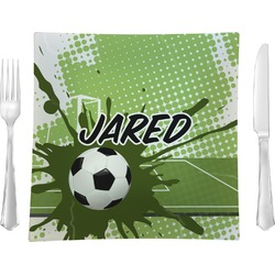 Soccer Glass Square Lunch / Dinner Plate 9.5