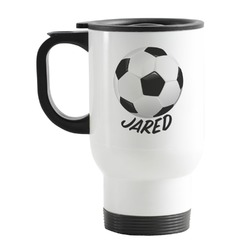 Soccer Stainless Steel Travel Mug with Handle